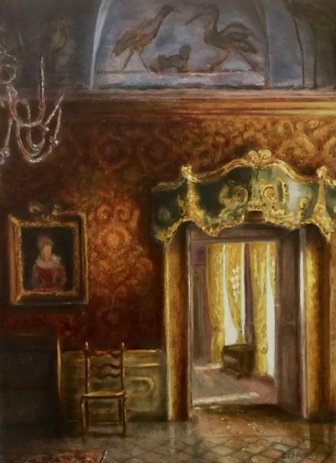 Doorkijkje in palazzo, Venetië , olieverf op paneel, 55x75cm
