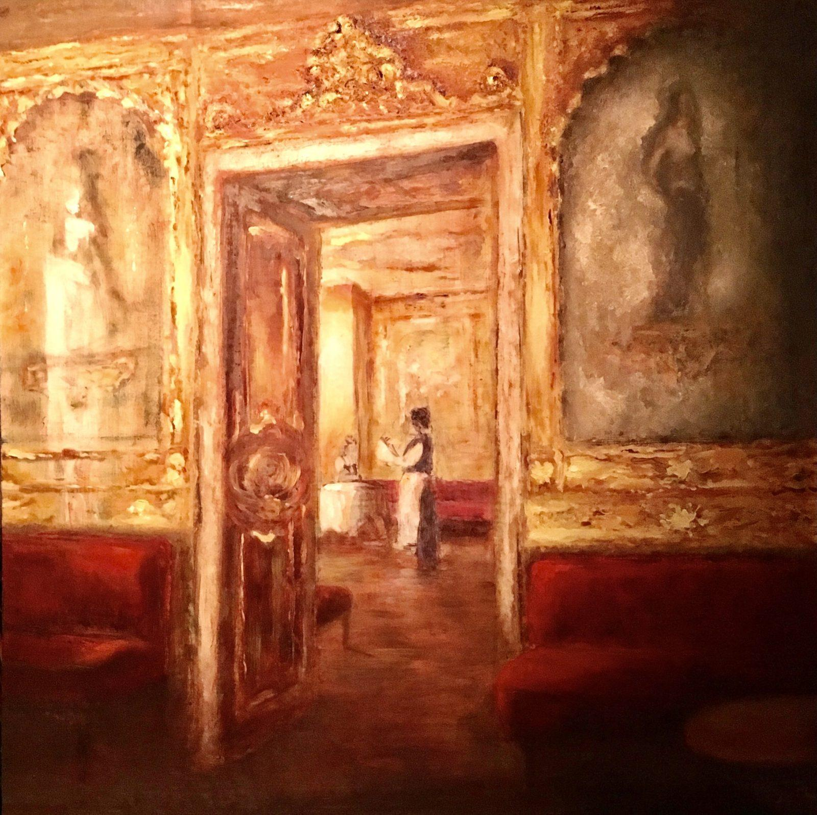 Cafe Florian, Venetië, olieverf op paneel, 60x60cm