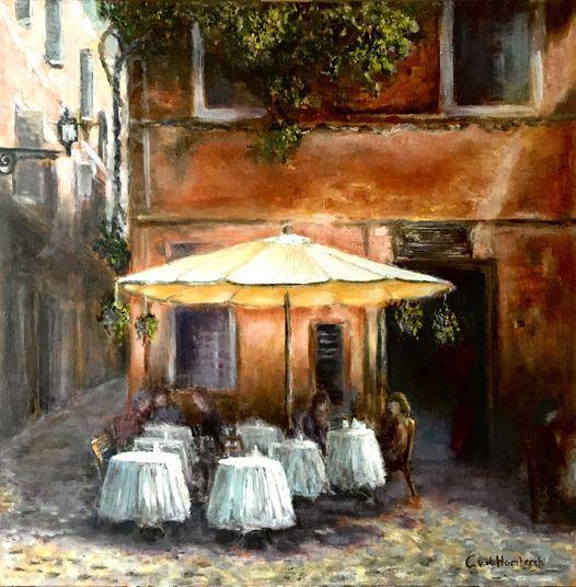 Rome, terras op Trastevere, olieverf op paneel, 50x75cm
