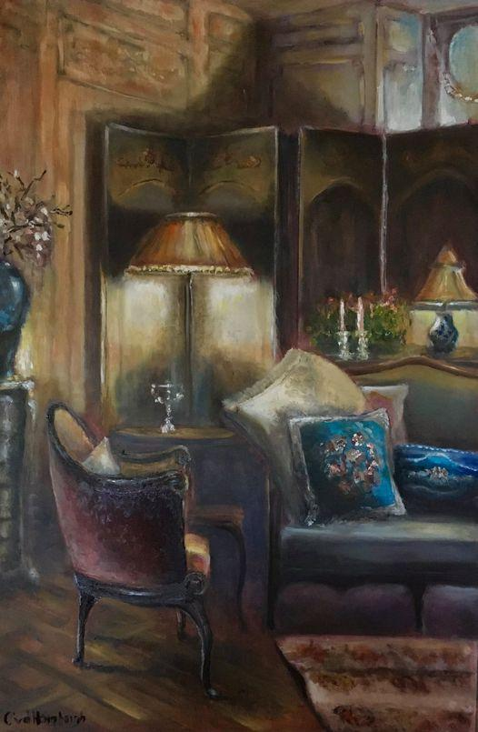 Cozy corner, olieverf op paneel, 50x75cm