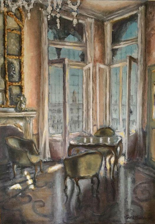 Venetiaanse salon, olieverf op paneel, 50x75cm
