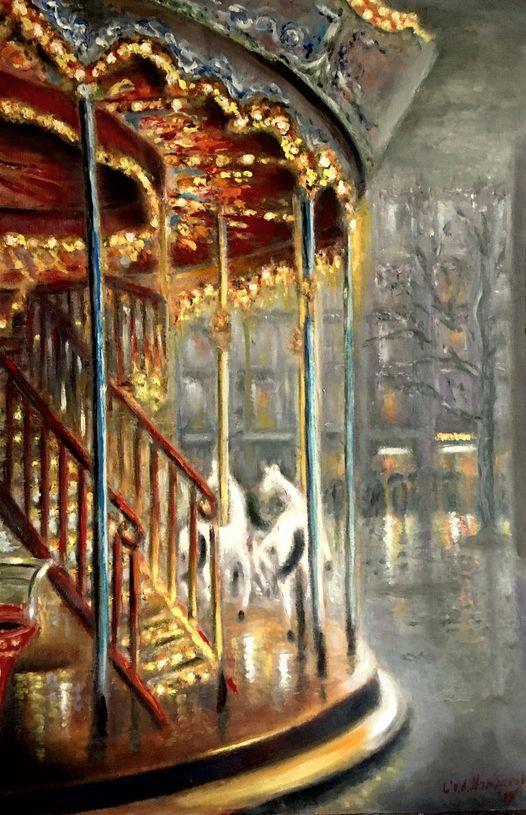 Paris, le carrousel desole, olieverf op paneel, 50x75cm