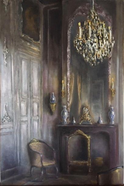 Frans interieur, olieverf op paneel, 50x75cm