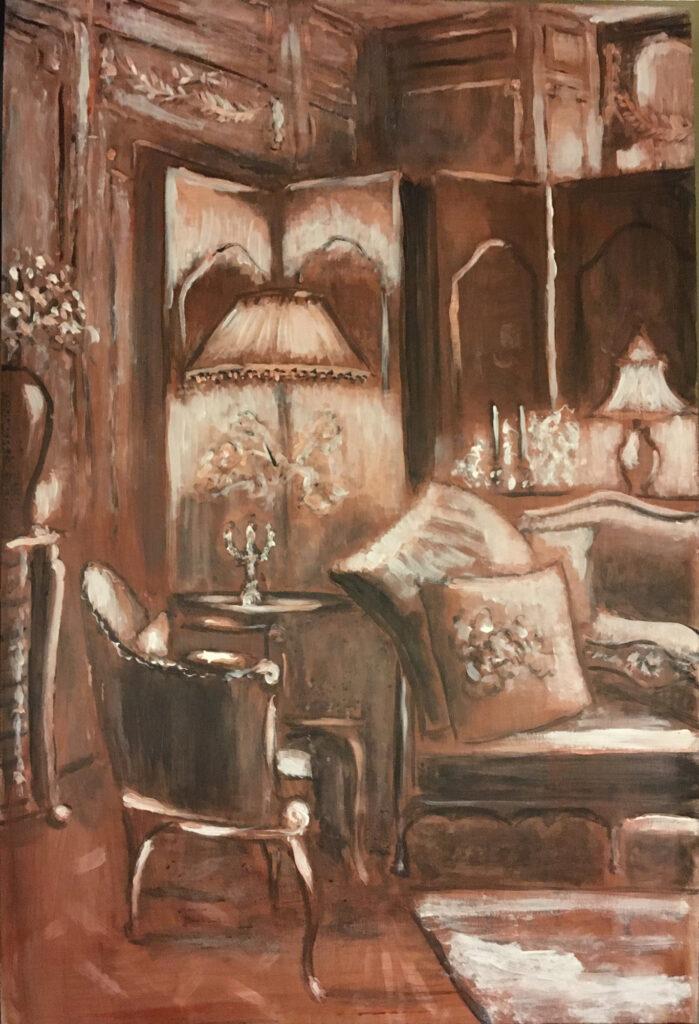 Cozy corner, onderschildering met imprimatura