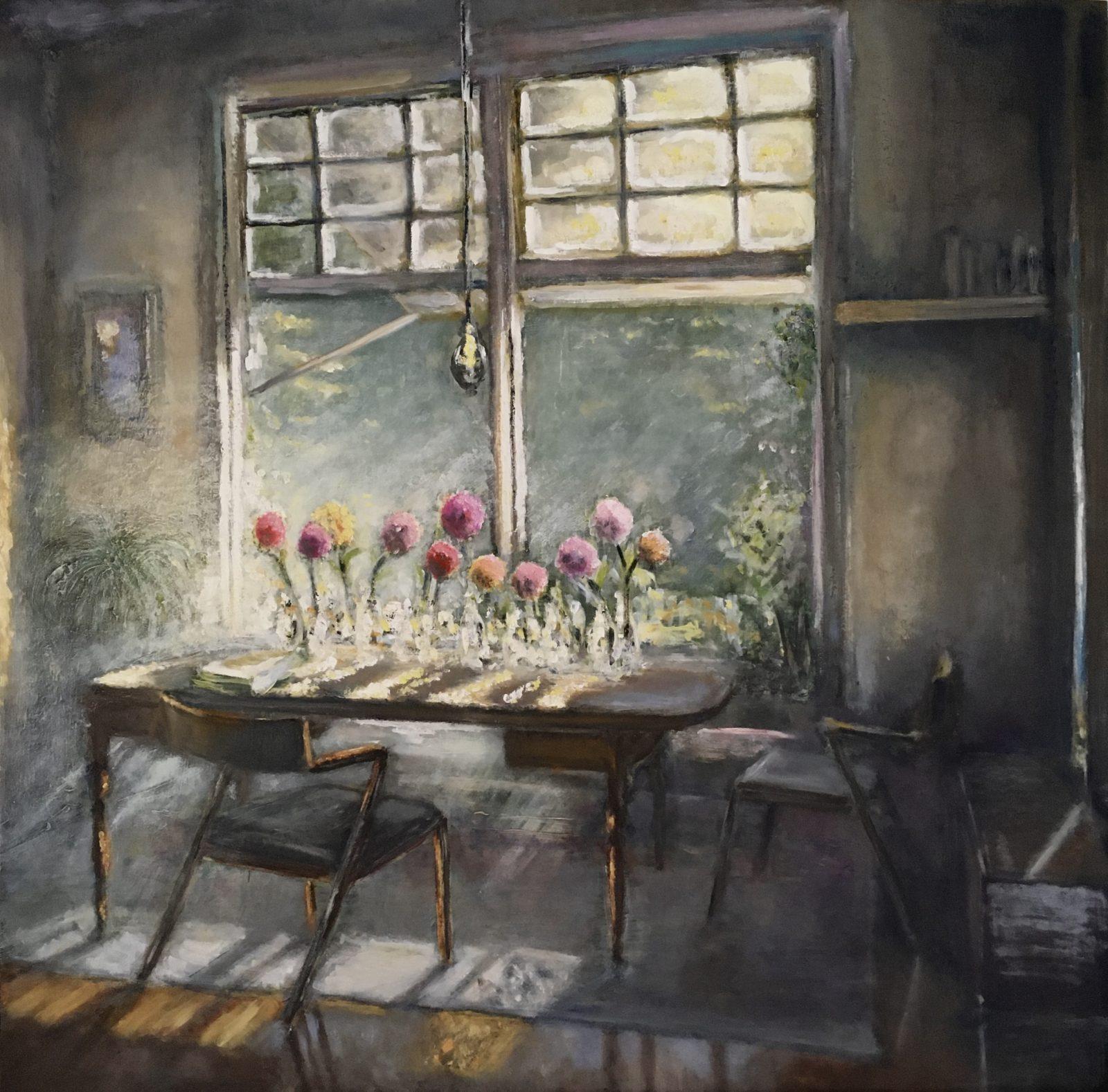 Sunny home, olieverf op paneel, 70x70cm