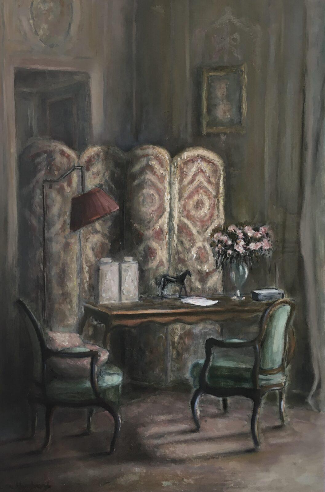 Le boudoir parisien, olieverf op paneel, 50x75cm